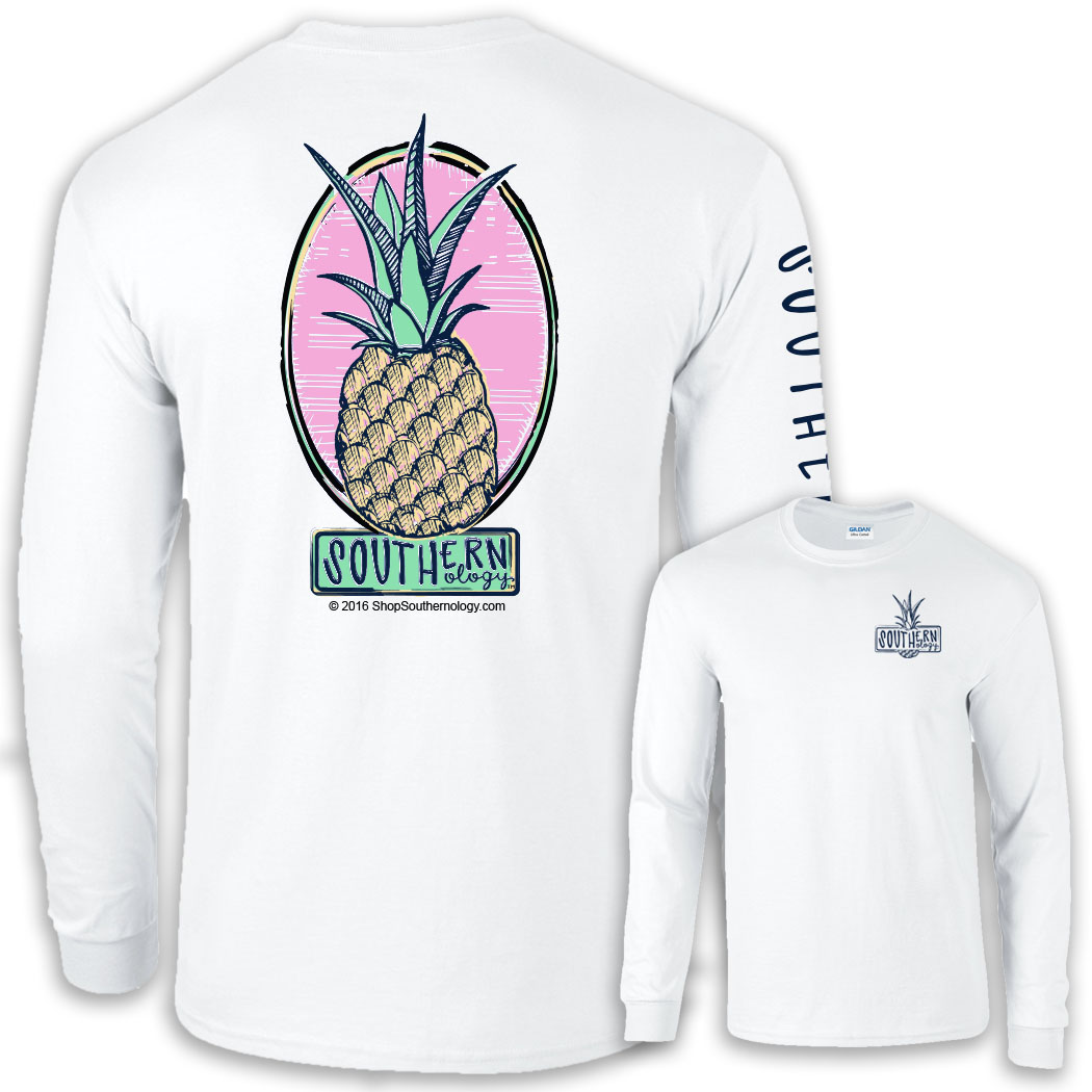 white long sleeve southernology pineapple t shirt. Black Bedroom Furniture Sets. Home Design Ideas