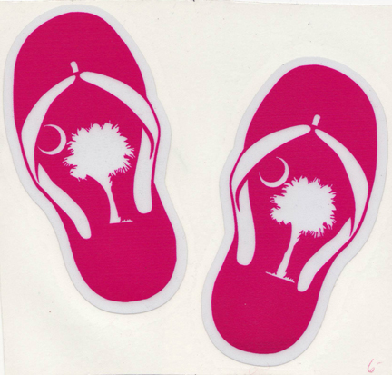 Pink Flip Flop with Palmetto Tree Decal