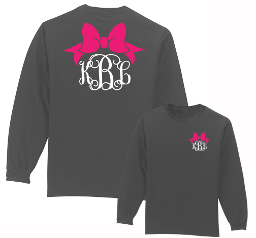 Preppy Bow Monogram Shirt Long Sleeve