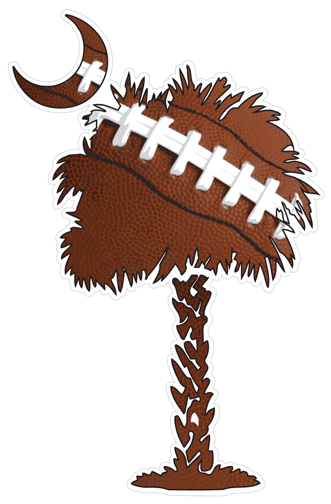 Football Palmetto Tree Decal
