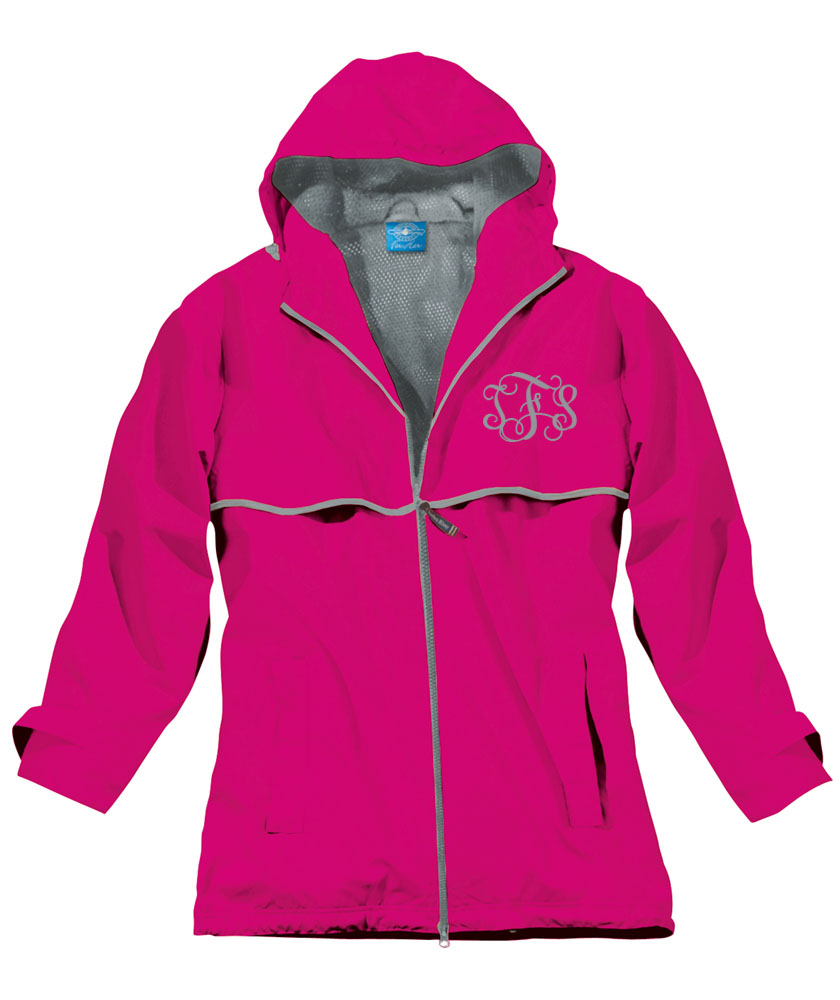Hot Pink Preppy Monogrammed Rain Jacket   underthecarolinamoon.com