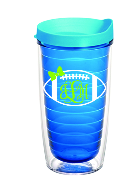 Preppy Football Monogram Tervis Tumbler