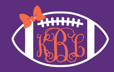Preppy Football   Monogram Decal