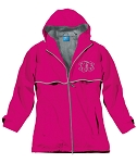 Preppy Monogrammed Hot Pink Rain Jacket