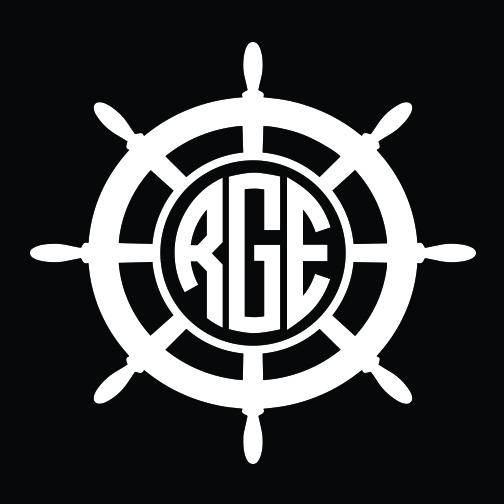 nautical wheel monogram car decal