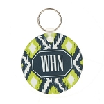Green/Grey Ikat Patterned Key Chain