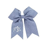 Monogrammed Chambray Hair Bow