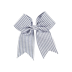 Monogrammmed Navy Seersucker Hair Bow