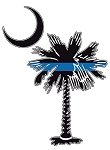 Thin Blue Line Palmetto Tree Decal