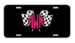 Racing Flags Monogram Car Tag