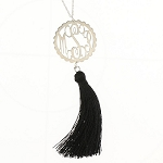 Sterling Silver Scallop Filigree Tassel Necklace