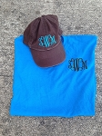 Curly Monogram Script Short Sleeve Shirt and Hat Special