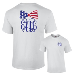 Patriotic Bow Monogram T Shirt