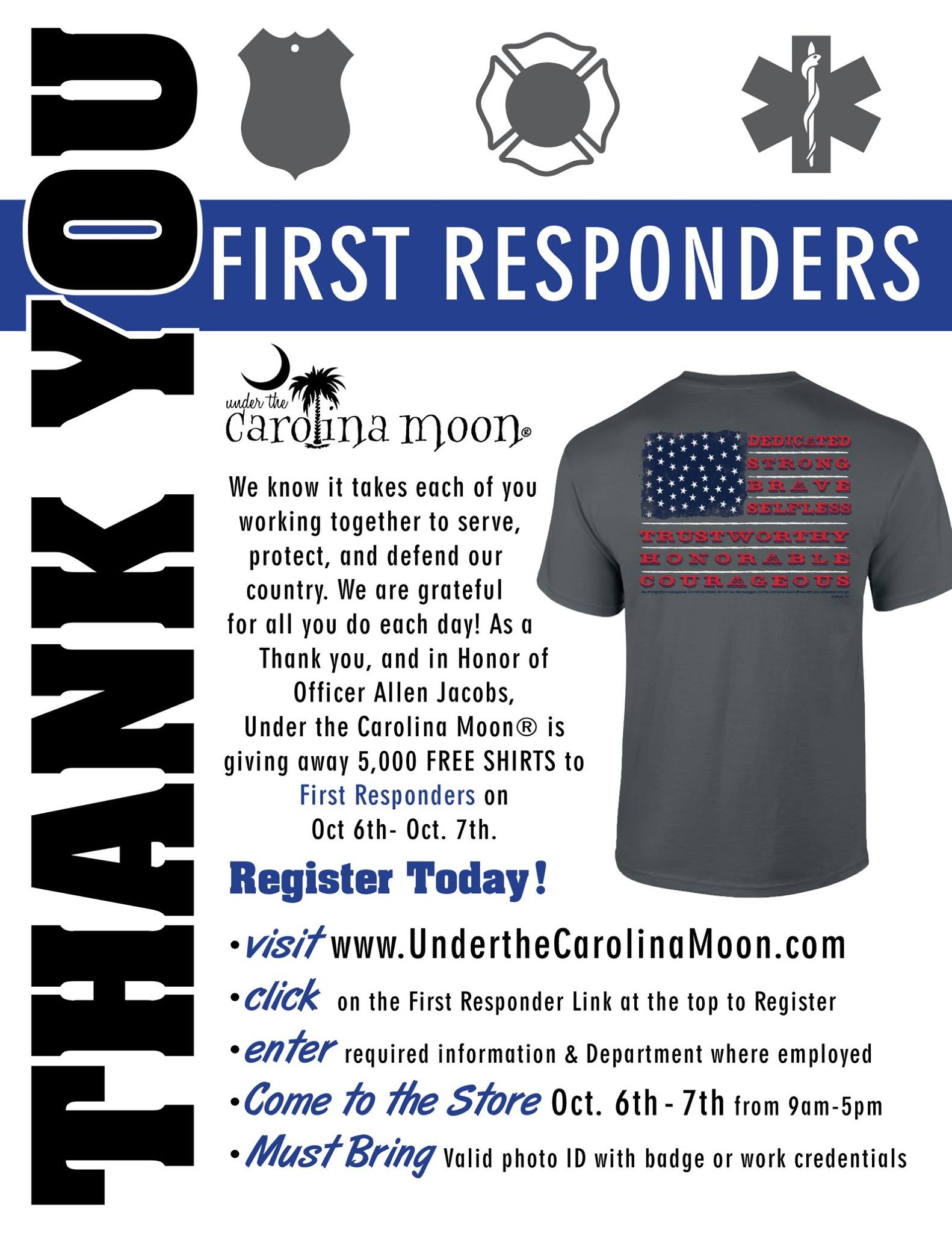 First Responder 5,000 FREE SHIRT Giveaway