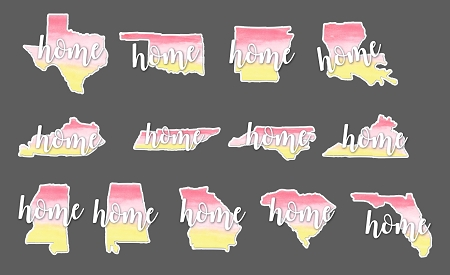 Water Color Home State Decal