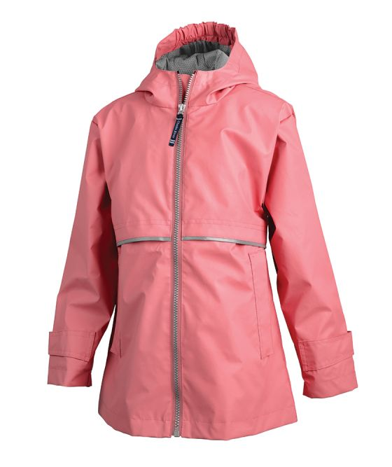 Preppy Monogrammed Girls' Coral Rain Jacket