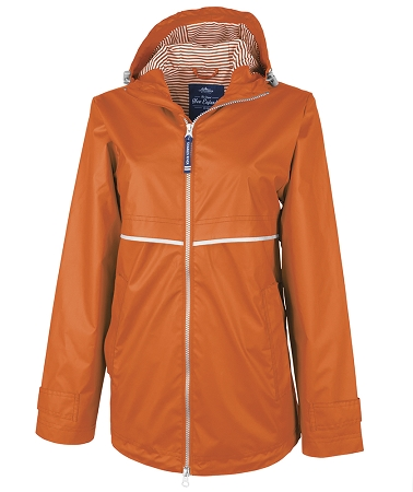 Orange Preppy Monogrammed Rain Jacket