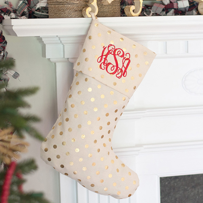 gold dot christmas stocking underthecarolinamooncom - Gold Christmas Stocking