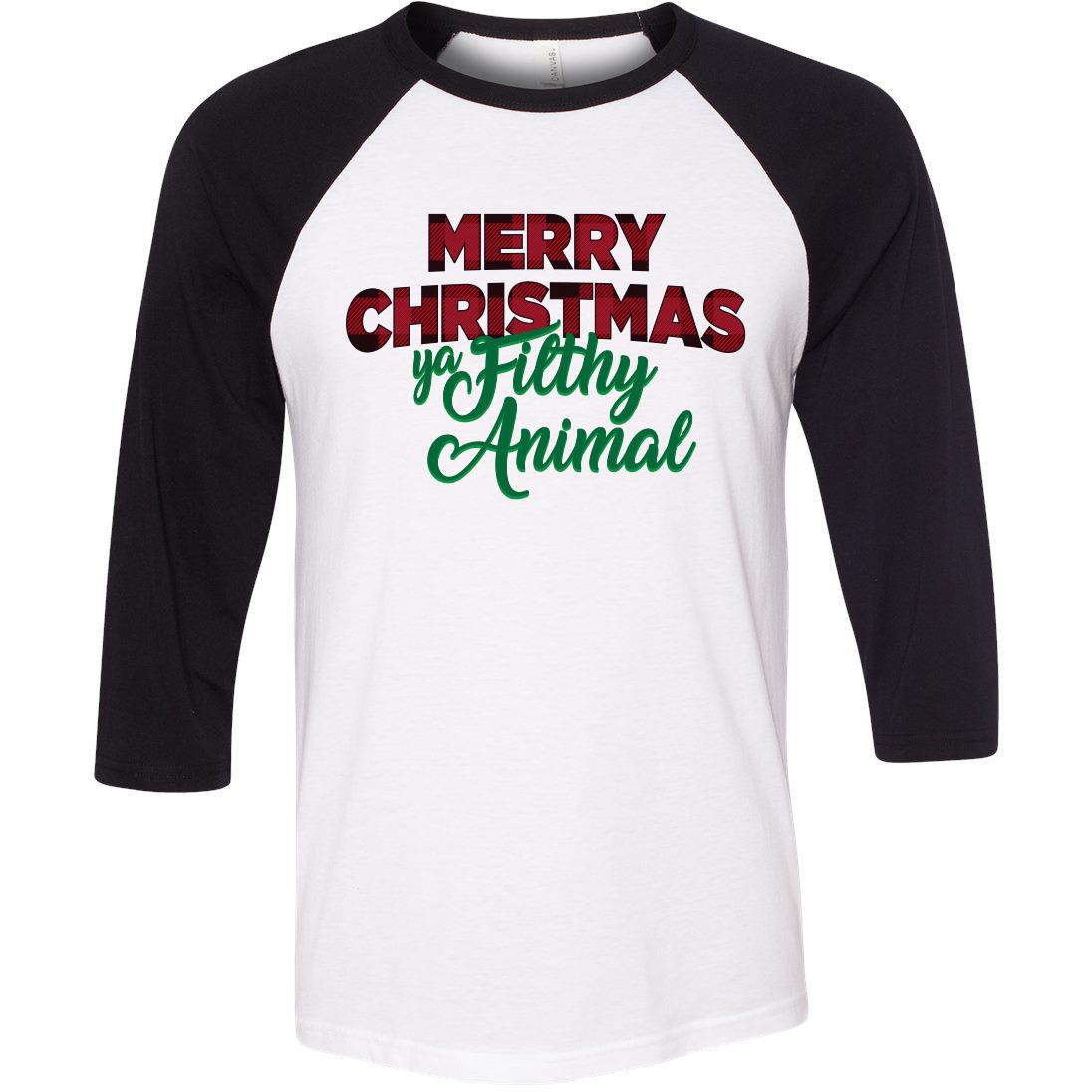 85095a38e Merry Christmas Ya Filthy Animal Raglan   underthecarolinamoon.com