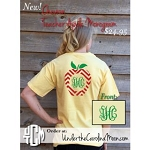 Chevron Teacher Vines Monogram Apple T-shirt