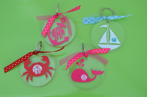 Nautical Acrylic Monogram Keychain
