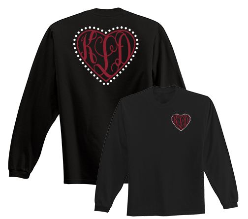 Preppy Heart Monogram T-shirt Long Sleeve