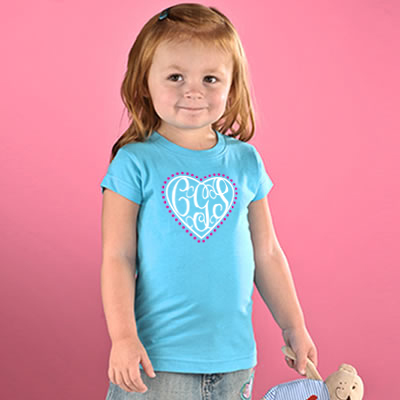 Preppy Heart Monogram Toddler T-shirt