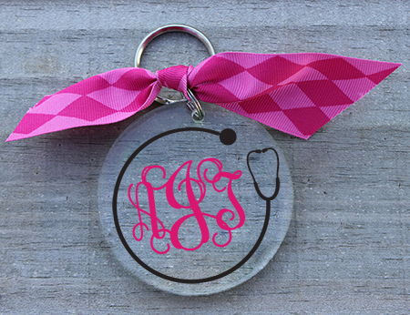 Preppy Monogram Nurse Keychain