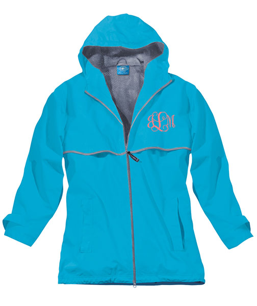 Wave Preppy Monogrammed Rain Jacket | underthecarolinamoon.com