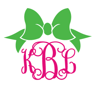 Preppy Bow Monogram Decal