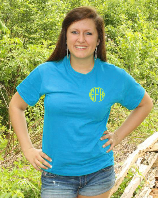 Short Sleeve Circle Outline Left Chest Monogram T-shirt
