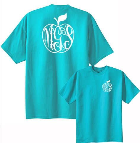 Teacher Monogram Apple T-shirt