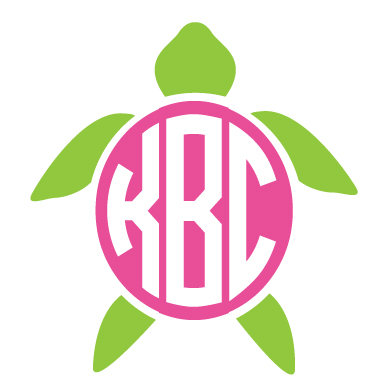 Monogrammed Turtle Decal