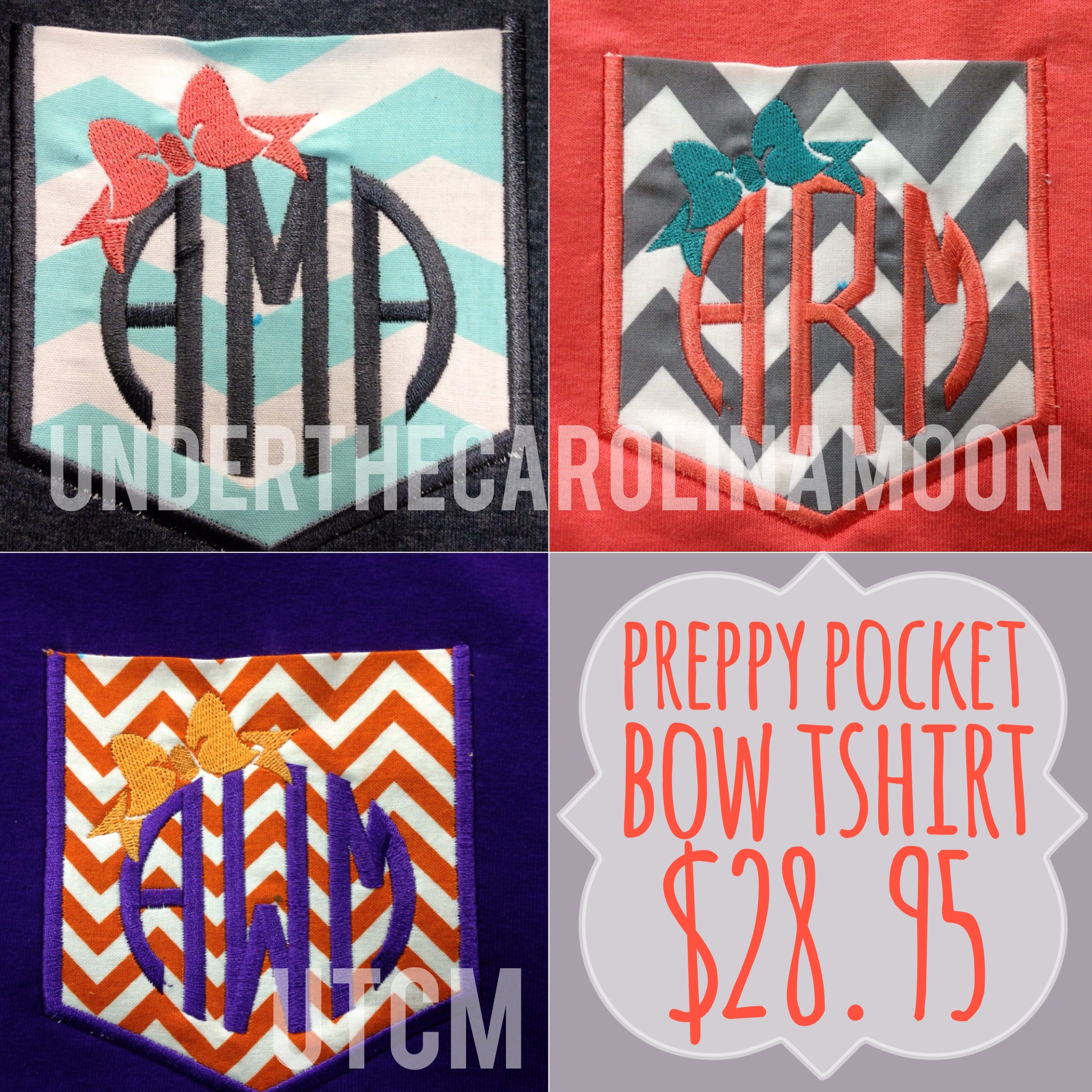 Preppy Bow Monogram Chevron Pocket