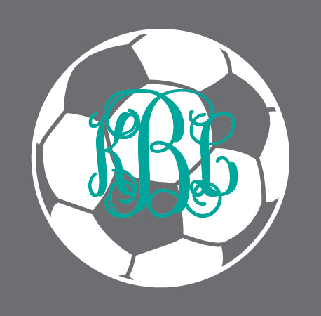 Preppy Soccer  Monogram Decal