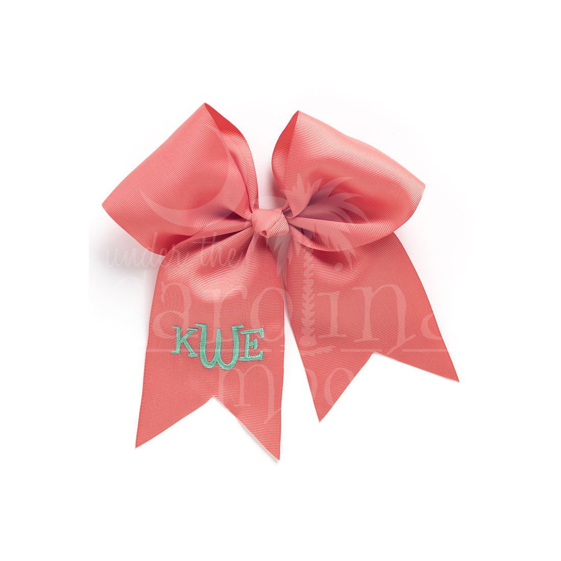 Monogrammed Coral Hair Bow