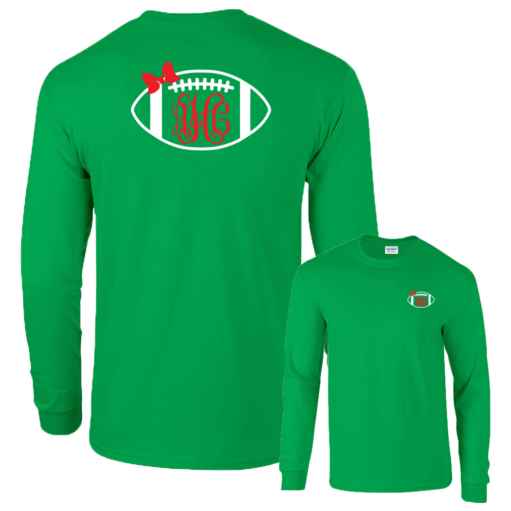 Preppy Football  Monogram Shirt Long Sleeve