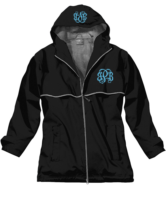 Black Preppy Monogrammed Rain Jacket