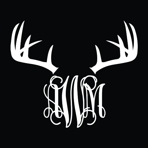 Antler Monogram Car Decal