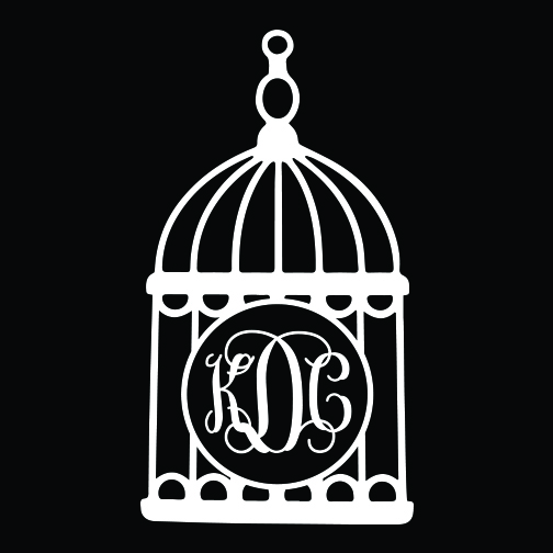 Birdcage Monogram Car Decal