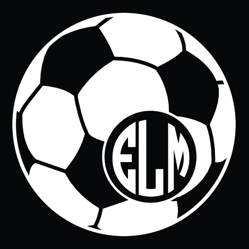 Soccer Ball Monogram Car Decal