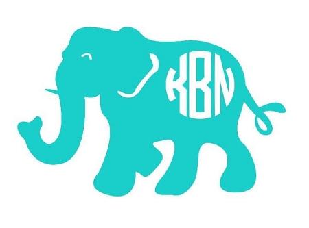 Elephant Monogram Decal Underthecarolinamooncom - Elephant monogram car decal