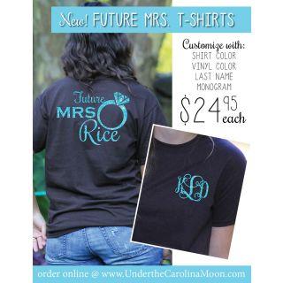 Future Mrs Monogram Ring T Shirt Underthecarolinamoon Com