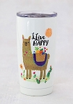 Natural Life Llama Live Happy Tumbler