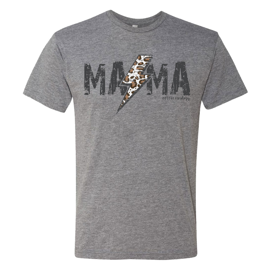 Southernology® Leopard Mama Lightning Bolt Statement Tee PREORDER