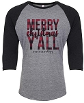 Plaid Merry Christmas Y'all Raglan