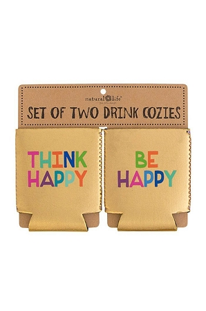Natural Life Think Happy Be Happy Set of 2 Can Cozies
