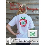 Polka Dot Teacher Vines Monogram Apple T-shirt