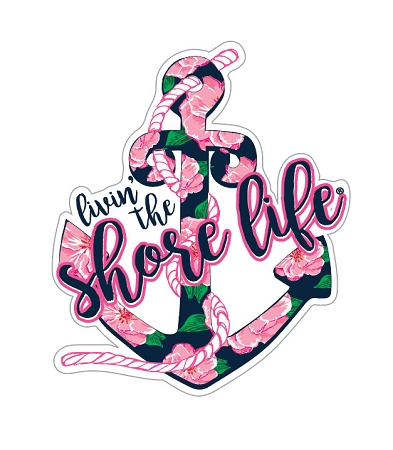 Livin' The Shore Life™ Floral Anchor Decal