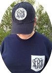 Seersucker Applique Set Monogrammed Short Sleeve Shirt and Hat